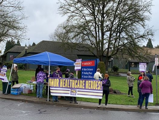 SEIU Local 49 members have been negotiating a contract with Providence Milwaukie hospital for more than two years. (SEIU Local 49)