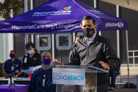 Long Beach Mayor Robert Garcia addresses people at one of the city's vaccine clinics. Long Beach has a large LGBTQ+ community. (City of Long Beach)