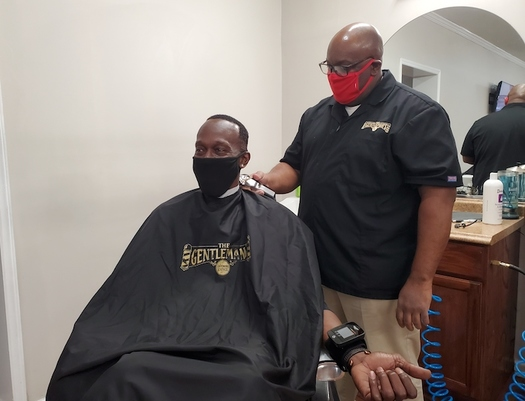 Gentleman's Grooming Lounge owner Derek Brooks is comfortable speaking with clients about heart health. (American Heart Association)