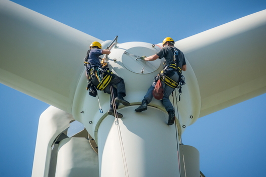 New College Institute in Martinsville, Va., just started offering wind-turbine safety certification training to meet the need for clean-energy job openings. (Adobe stock)