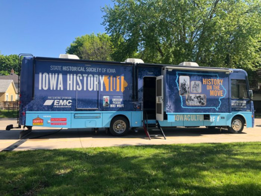 The State Historical Society of Iowa's mobile museum contains 56 artifacts and videos. (traveliowa.com)