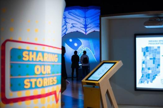 An exhibit looking at the opioid crisis in Indiana features personal stories and art installations from people in the recovery community as well as medical professionals. (The Indiana State Museum and Historic Sites)