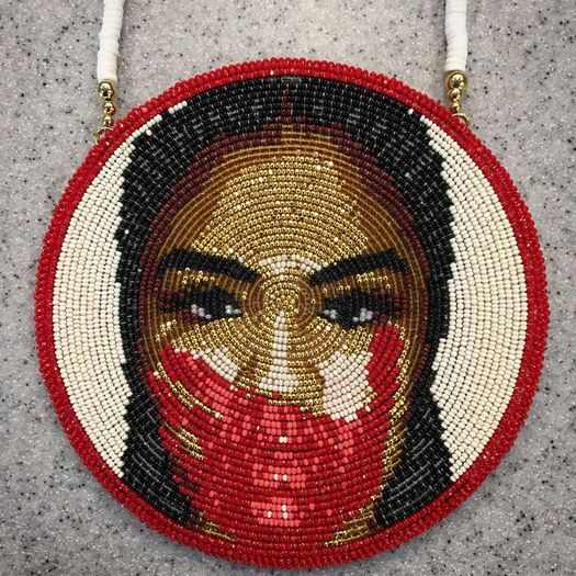 A beaded medallion from Shoshone Bannock artist Brodie Sanchez raises awareness about missing and murdered indigenous women. (Brodie Sanchez)