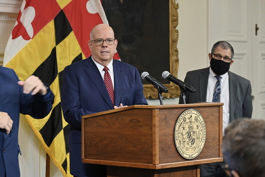 In a new poll, just 10% of Marylanders said they disapproved of Gov. Larry Hogan's handling of COVID-19. (Marylandgovpics/Flickr)<br />