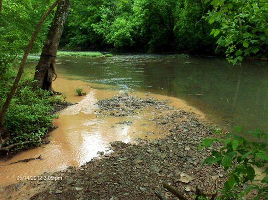 Photo by Bill Hughes. Wyatt Run where it empties into Fishing Creek downstream of Stone Energy Wellpad #2