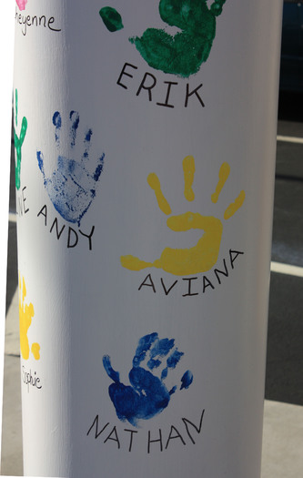 Children's handprints. Photo credit: Deborah Smith.