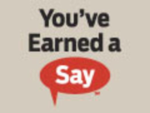 """You've Earned a Say"" logo"