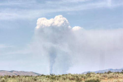 PHOTO: Plume of smoke from a fire in the Salmon-Challis National Forest. Photo credit: Deborah Smith