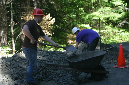 PHOTO: Youth conservation crew members work on the Sandy Ridge trail system. Courtesy Bureau of Land Management Salem office.