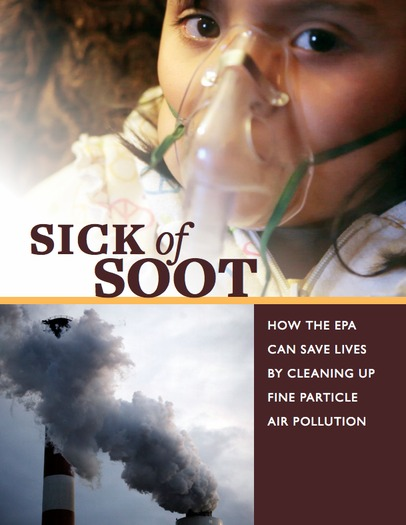 GRAPHIC: The cover of the Sick Of Soot: How The EPA Can Save Lives By Cleaning Up Fine Particle Air Pollution report.