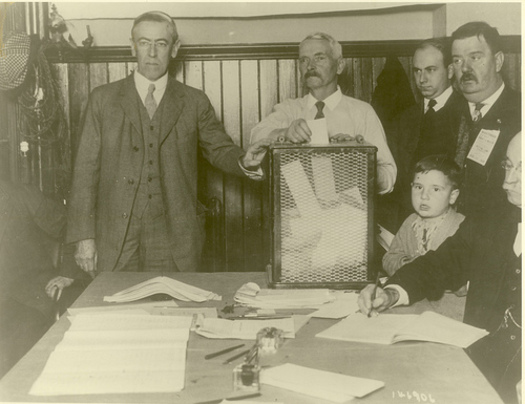 Photo: Woodrow Wilson casts his ballot in presidential election, 1916. Courtesy: Woodrow Wilson Presidential Library Archives