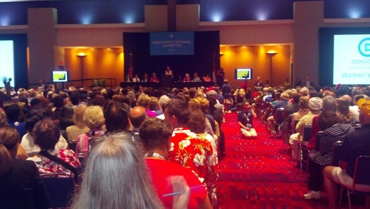 PHOTO: A packed house at the Democratic Women's Caucus in Charlotte, N.C.  Photo credit: Stephanie Carroll Carson, Public News Service.