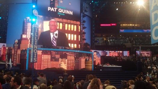 PHOTO: Gov. Pat Quinn addressing the Democratic National Convention. Photo credit: Stephanie Carroll Carson.
