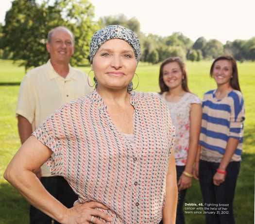 """PHOTO: """"Debbie"""" and her family. She's fighting breast cancer and is featured in this year's campaign."""