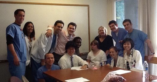 PHOTO: Tufts School of Medicine students in an Operation House Call classroom session this month. Courtesy OHC.