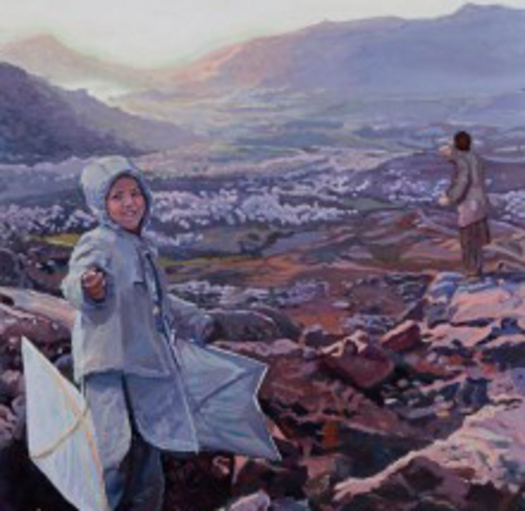 "PHOTO: Painting of Afghanistan Mountain and Child from ""Windows and Mirrors"" exhibit. Courtesy of: AFSC"