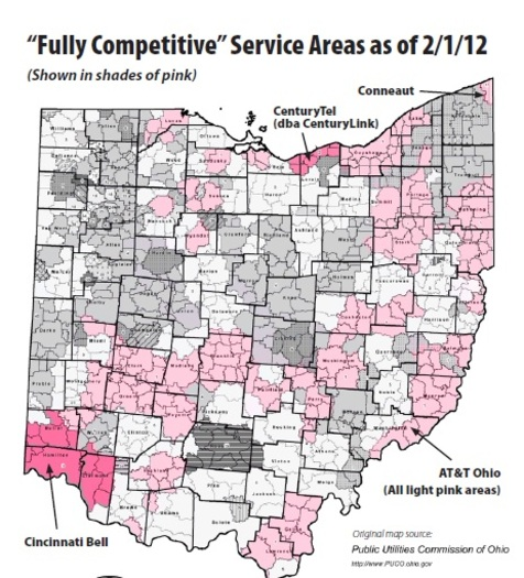 "GRAPHIC: Map of ""fully competitive"" services areas in Ohio. Courtesy of the Ohio Consumer's Council."