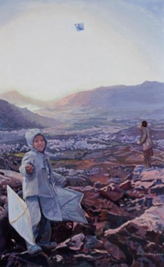 "PHOTO: Painting of Afghanistan Mountain and Child from ""Windows and Mirrors"" exhibit, organized by the American Friends Service Committee. Courtesy of: AFSC"