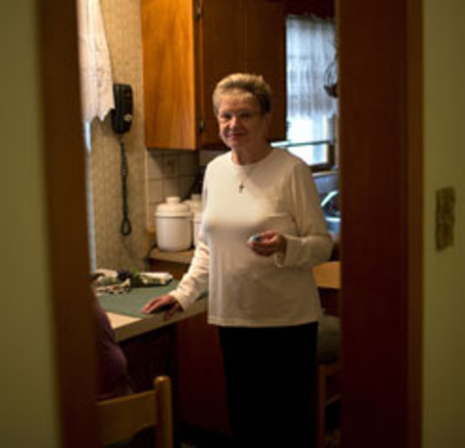 PHOTO: Barbara Laconte of Berwyn, whose medication costs have tripled.  Photo credit: Jon Lowenstein. Courtesy of AARP Illinois.