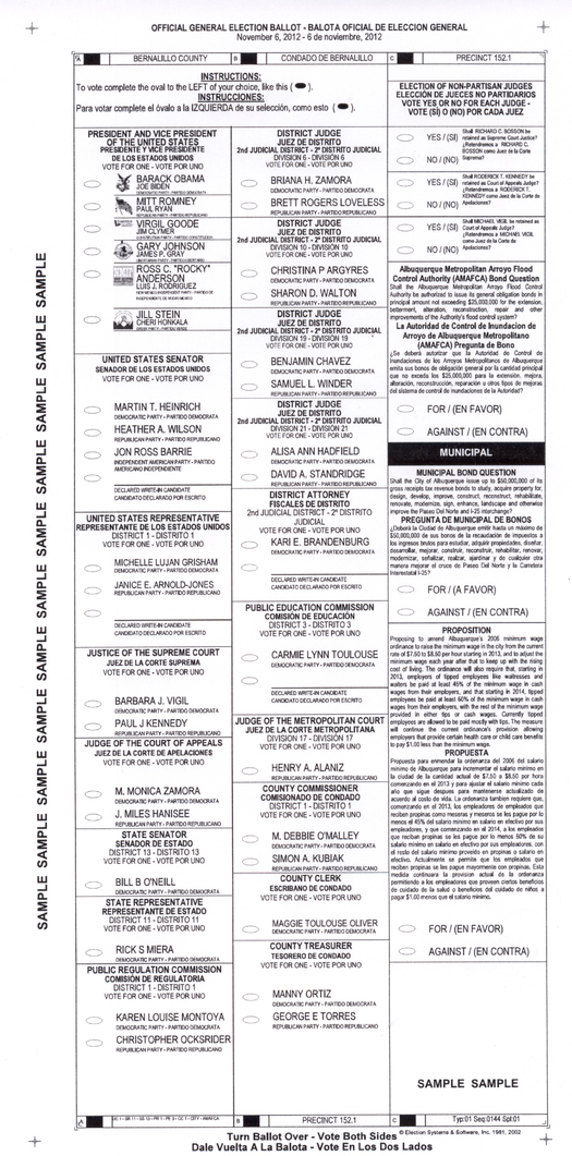 IMAGE: Beth Blakeman�s sample ballot. Reproduction permitted courtesy of Bernalillo County Clerk My Voter Information Page.