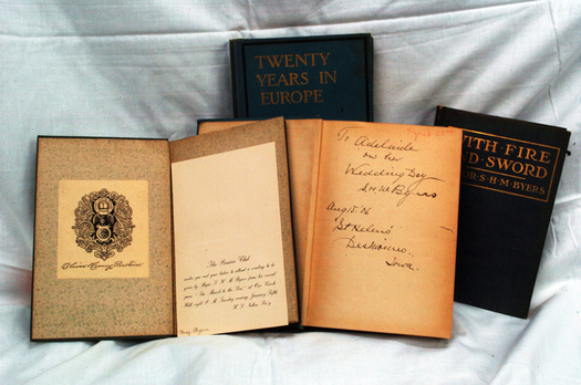 PHOTO: Some of the antique books available at the sale. Photo credit: David McFarland, book sale volunteer.