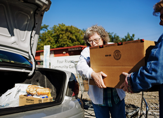 PHOTO: Emergency food boxes contain supplies for several days' worth of meals. Photo credit: Daniel Root, PhotoForce.