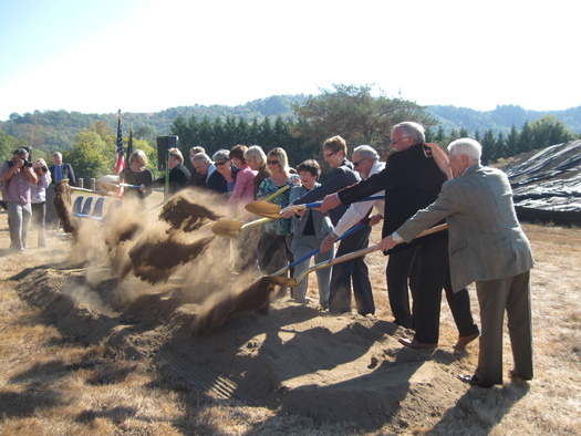 PHOTO: An enthusiastic crowd broke ground for the new veterans' housing project in Roseburg. Courtesy of NeighborWorks Umpqua.