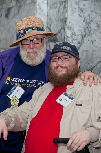PHOTO: David and Tim Lindberg at a legislative rally earlier this year. Courtesy of Lindberg.