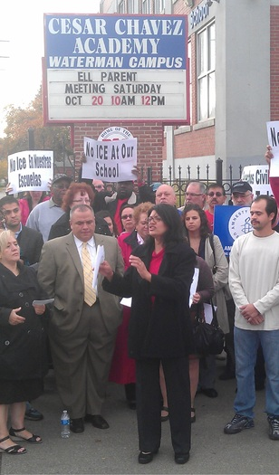 Parents protesting outside Chavez High School in Detroit. Photo courtesy of AIR-Michigan