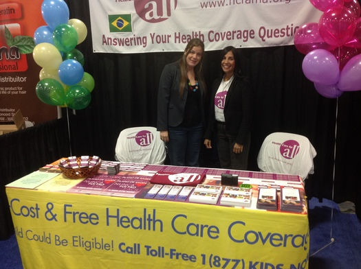 Aline Travers and Denise Moran of HCFA providing information about health care options to small businesses and individuals at the BRAZIL EXPO USA in September. Courtesy: HCFA