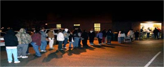 photo of food pantry line                         Courtesy of: Sts. Joachim and Ann Care Service