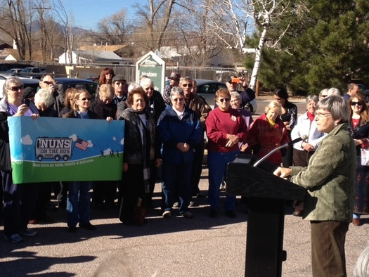 Photo: Sister Simone Campbell speaks at a 'Nuns on the Bus' event. Courtesy Nuns on the Bus.