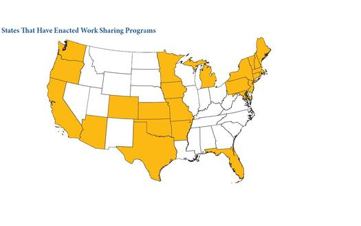 MAP: About half of the states have work-sharing programs now. Courtesy WV Center on Budget and Policy.