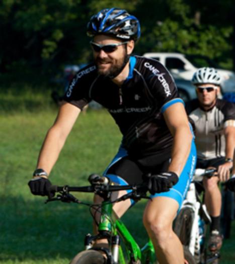 Photo: Chris Strout on his mountain bike. Courtesy: Chris Strout/Pisgah SORBA