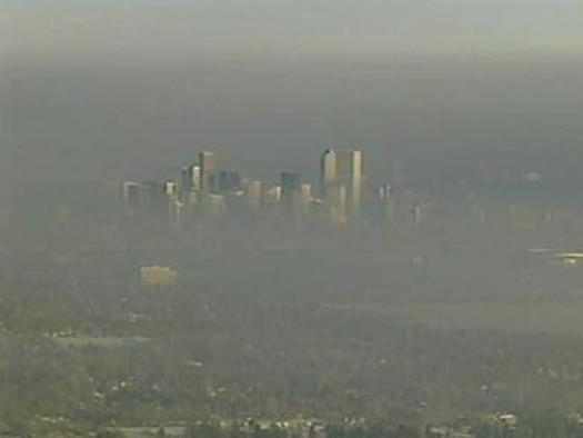 "PHOTO: Denver's ""brown cloud"" of summertime smog. Courtesy Earthjustice."