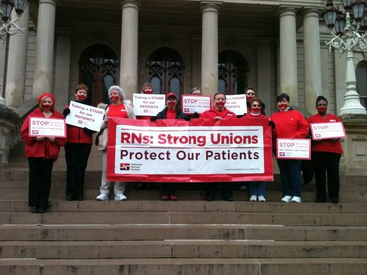 PHOTO: Michigan nurses were among thousands protesting the right-to-work vote at the State Capitol. Courtesy of Michigan Nurses Association.