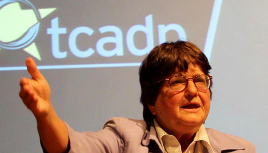 PHOTO: Death-penalty activist Sister Helen Prejean, speaking at St. Edward�s University in October. Credit: Mo McMorrow.