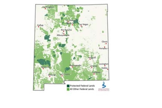 GRAPHIC: A new report shows the protected federal lands are connected with more jobs and higher incomes in New Mexico. Protected federal lands in New Mexico include national parks, wilderness, National Recreation Areas, and National Wildlife Refuges. Graphic courtesy of Headwaters Economics.