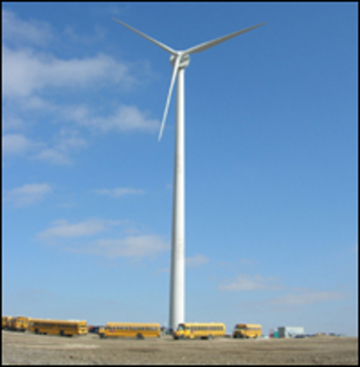 PHOTO: Wind turbine installed at school in Wray, Colorado as part of the Wind for Schools Project. CREDIT: U.S. Department of Energy