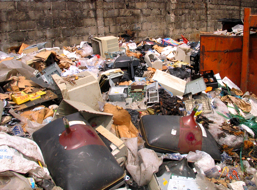 PHOTO: The Basel Action Network estimates 75 percent of the electronic waste that arrives in Lagos, Nigeria, is not reusable. BAN says too often, as in this photo, it ends up being dumped. Courtesy BAN.