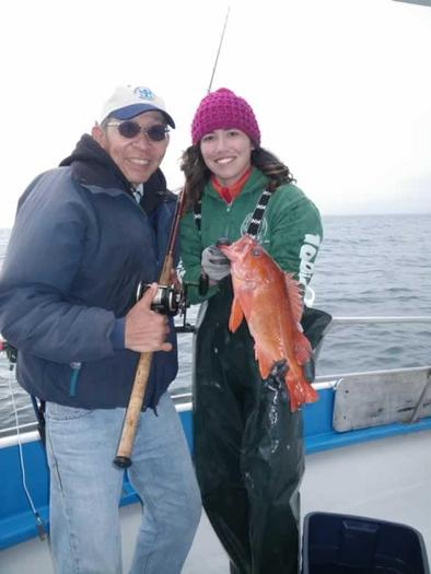 Photo: Volunteer recreational angler Ken Yuen and CCFRP scientist Jahnava Duryea collecting data on nearshore fishes at Half Moon Bay. Credit: California Collaborative Fisheries Research Program.