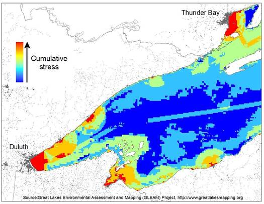 IMAGE: Maps from the GLEAM Project show Lake Superior is the least stressed of the Great Lakes, but Duluth is facing environmental and ecological threats. Courtesy of University of Michigan.