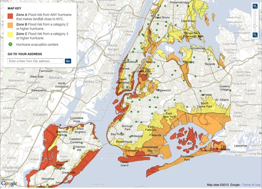 GRAPHIC:  Advocates say a high concentration of people with disabilities live in flood-prone areas of New York – like Zone A (red on map)– so planners need to take that into account for future storms.