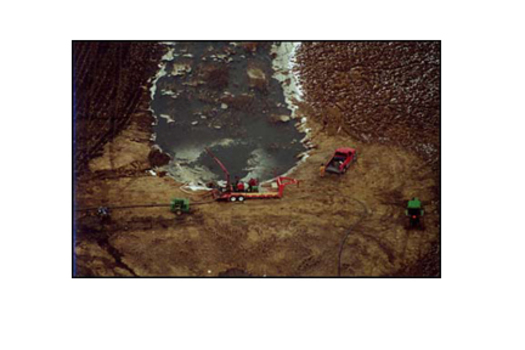 Aerial view of a manure spill at a factory farm.<br />Photo Credit: Socially Responsible Agricultural Project www.sraproject.org