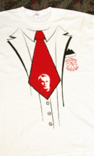 """PHOTO: The """"Bo-Tie"""" t-shirt, with Coach Bo Ryan's likeness, will be handed out to everyone at the Badgers game against Minnesota at the Kohl Center on Sat., Jan. 26."""