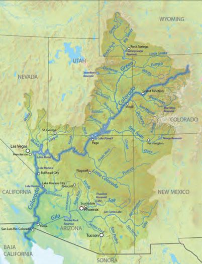 Graphic: Map of the Colorado River Basin. Courtesy Protect the Flows.
