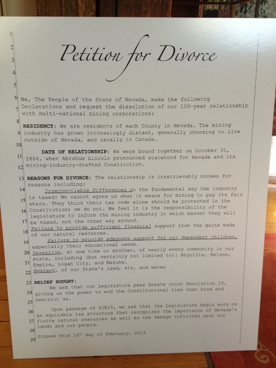 "PHOTO: This is the ""divorce petition"" being delivered to the Nevada Legislature today. Photo courtesy of PLAN."