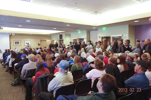 "PHOTO: A ""Legislative Lowdown"" event in Durango (on Feb. 23) drew a standing-room-only crowd to talk about gun control. Photo courtesy Ross Park."