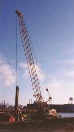 Heavy equipment used to dredge contaminated sediments from Waukegan Harbor. Courtesy of: Illinois EPA