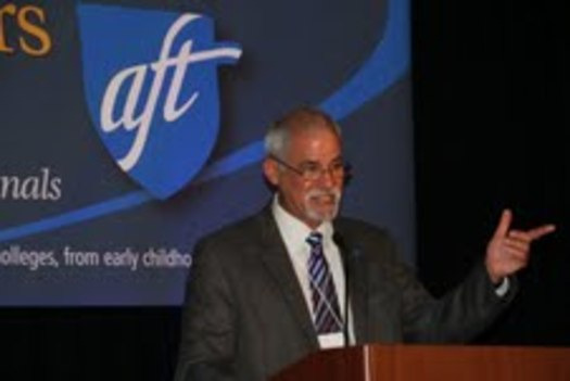 PHOTO: CFT president Joshua Pechthalt greets the delegates to open the 71st annual California Federation of Teachers convention on Friday, March 15.